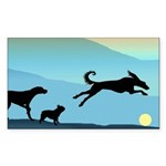 Dogs Chasing Ball Rectangle Sticker