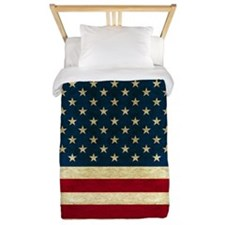 Tea-stained Antiqued American Flag Twin Duvet