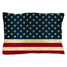 Tea-stained Antiqued American Flag Pillow Case