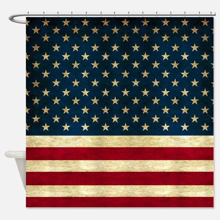 Tea-stained Antiqued American Flag Shower Curtain