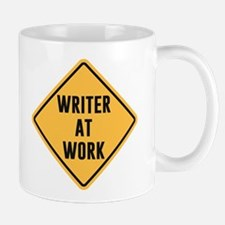 Writer at Work Working Caution Sign Mugs
