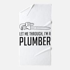 Let me through I'm a plumber Beach Towel