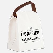 Libraries shhhh happens Canvas Lunch Bag
