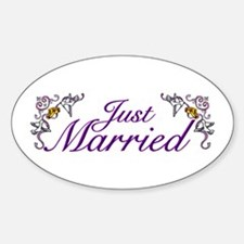 Just Married Purple Oval Decal