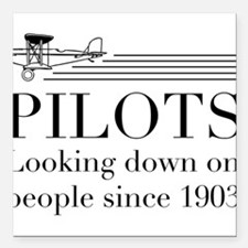 """Pilots looking down people Square Car Magnet 3"""" x"""