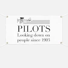 Pilots looking down people Banner