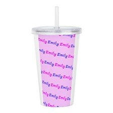 Custom Emily Pink Blue Acrylic Double-Wall Tumbler