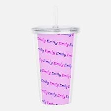 Custom Emily Pink Blue Acrylic Double-Wall Tumbler