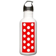 Red White Polka Dots Vision Water Bottle