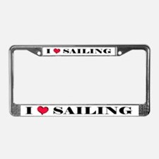 """I Love Sailing"" License Plate Frame"