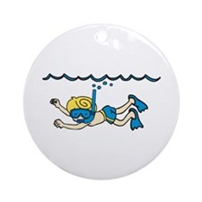Snorkeler Underwater Ornament (Round)