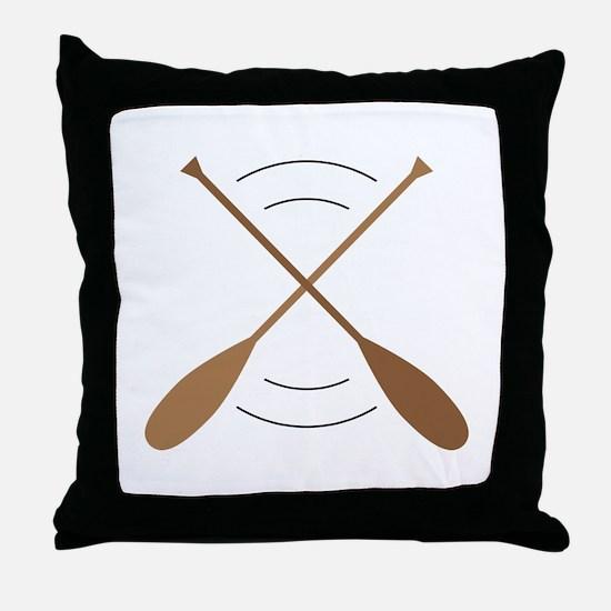 Crossed Canoe Paddles Throw Pillow