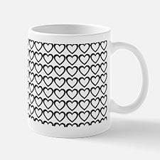 Black White Hearts Pattern Mugs
