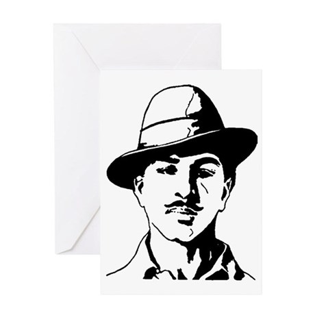 Bhagat Singh Black and White Sketch Greeting Card