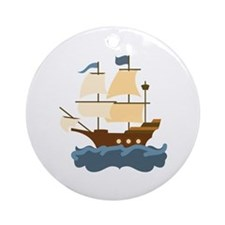 Wooden Ship Ornament (Round)