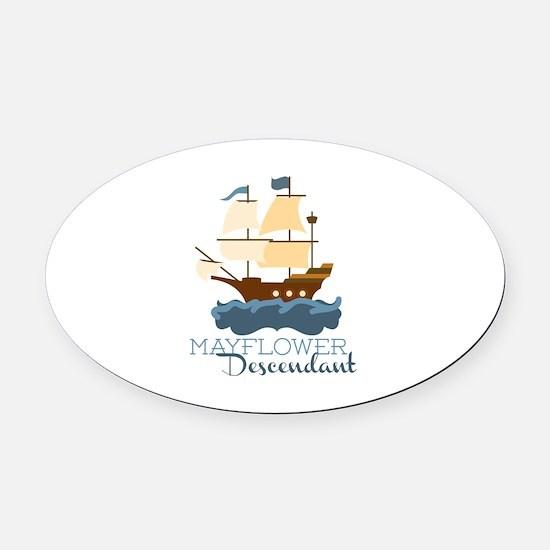 Mayflower Descendant Oval Car Magnet