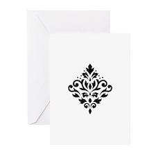 Scroll Damask Design Black on White Greeting Cards