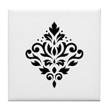 Scroll Damask Design Black on White Tile Coaster