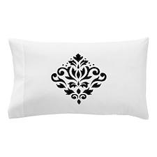 Scroll Damask Design Black on White Pillow Case