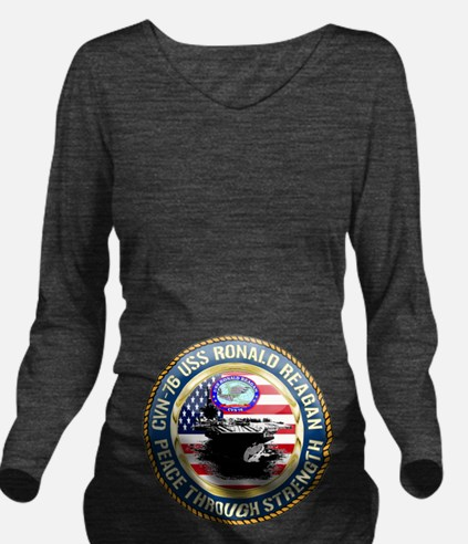 CVN-76 USS Ronald Re Long Sleeve Maternity T-Shirt