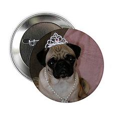 Princess Pug In Tiara Button