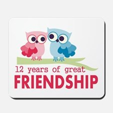 12th Anniversary Owl Design Mousepad
