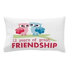 12th Anniversary Owl Design Pillow Case