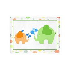 Elephants and Blue Bird 5'x7'Area Rug