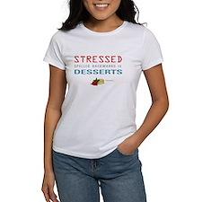 Cute Stressed spelled backwards Tee