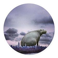 City Hippo Round Car Magnet