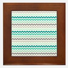 Cute Teal Framed Tile