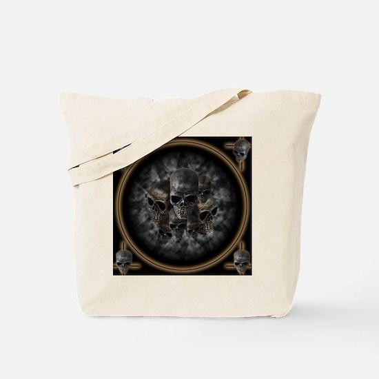 Old metal skulls in the mist Tote Bag