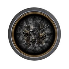 Old metal skulls in the mist Wall Clock