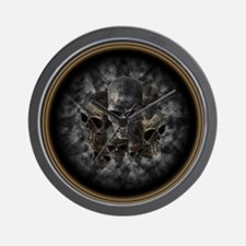 Old metal skulls in the mist Wall Clock