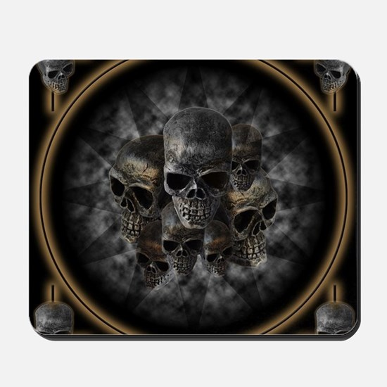 Old metal skulls in the mist Mousepad