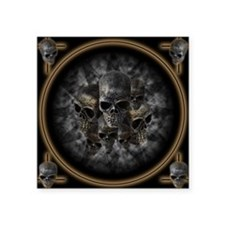 "Old metal skulls in the mis Square Sticker 3"" x 3"""