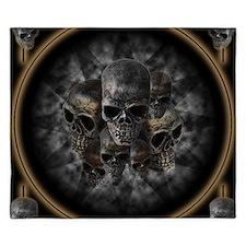 Old metal skulls in the mist King Duvet