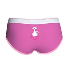 Sassy Cat White and Pink Cat Women's Boy Brief