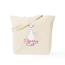 Sassy Cat White and Pink Cat Tote Bag