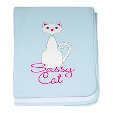 Sassy Cat White and Pink Cat baby blanket