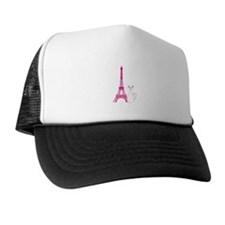 White Cat Pink Eiffel Tower Trucker Hat