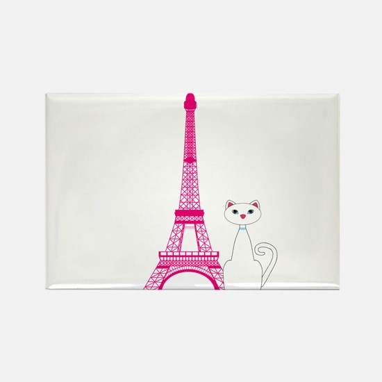 White Cat Pink Eiffel Tower Magnets