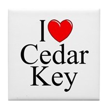 """I Love Cedar Key"" Tile Coaster"