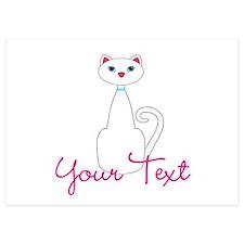 Personalizable White Cat Invitations