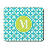 Monogram turquoise and lime Mouse Pads