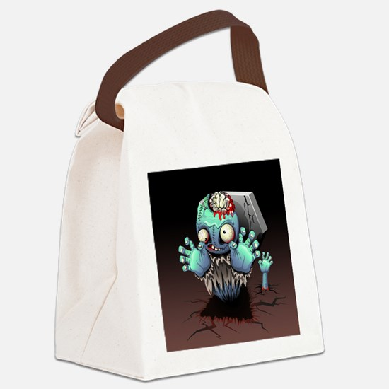 Zombie Monster Cartoon Canvas Lunch Bag