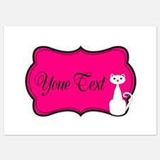 Personalizable White Cat on Hot Pink Invitations