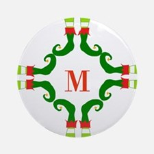 Personalizable Christmas Elf Feet Initial Ornament