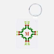 Personalizable Christmas Elf Feet Initial Keychain