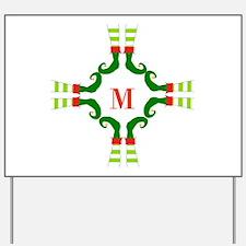 Personalizable Christmas Elf Feet Initial Yard Sig
